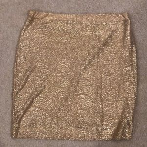 H&m gold stretchy pencil skirt